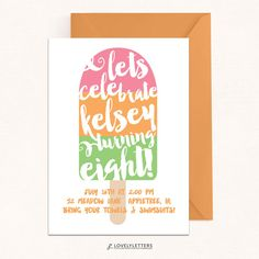 Popsicle Invitation / Popsicle Birthday by LovelyLettersDesign