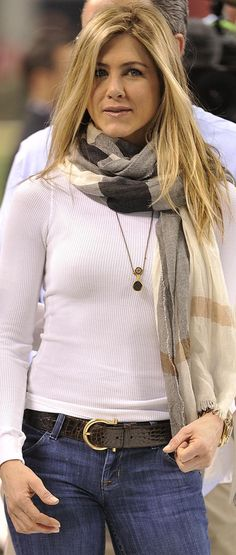 I love this outfit for casual weekend wear. I can't find a scarf or white shirt like it anywhere.