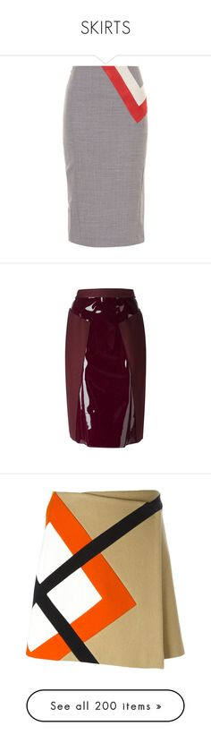 """""""SKIRTS"""" by noconfessions ❤ liked on Polyvore featuring skirts, bottoms, altuzarra, grey, high waisted skirts, gray pencil skirt, slit skirt, knee length pencil skirt, high waisted leather skirt and bordeaux"""