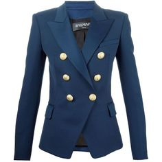 BALMAIN Double Breasted Blazer ($1,879) ❤ liked on Polyvore featuring outerwear, jackets, blazers, blazer, long sleeve blazer, blue jackets, flap jacket, balmain jacket and blue double breasted jacket