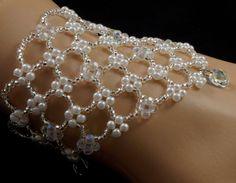 Items similar to Swarovski crystal pendant beaded pearl bridal bracelet. beaded bridal bracelet on Etsy Beads And Wire, Pearl Beads, Crystal Beads, Crystal Pendant, Ankle Bracelets, Crystal Bracelets, Jewelry Crafts, Handmade Jewelry, Slave Bracelet