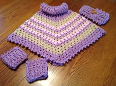 Handmade crochet cowl neck little girls poncho, boot cuffs, head wrap by Babyboomermamaw on Etsy