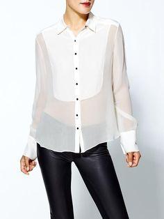 elizabeth and james   silk blouse...umm yes I want this tuxedo shirt! Thank you!