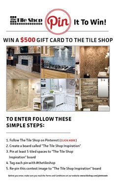 Pin It to Win $500 #thetileshop   Found May  2013