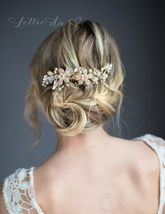 Wedding Hair Accessory with Pearls, Flower Hair Vine Comb Pin Set, Wire Wedding Hair comb, Wedding Hair Vine, Boho Headpiece - 'RAINE' Crown Hairstyles, Boho Hairstyles, Wedding Hairstyles, Men's Hairstyle, Hairstyle Ideas, Great Gatsby Headpiece, Boho Headpiece, Gold Flowers, Flowers In Hair