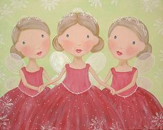 Susan Van Horn My  Sweet Imaginations.  Three Fairy Sisters Acrylic Painting for the Holidays