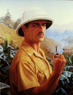 Self Portrait by Jean Despujols (French/American Indochina in the the artist portrays himself in typical colonial style - pith helmet and safari shirt. Art Deco Paintings, Portrait Paintings, Pith Helmet, The American School, Louisiana Art, Safari Shirt, Indochine, British Colonial, Second World