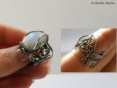 Eiric wire wrapped ring moonstone sterling and fine by MeaJewelry