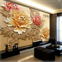Wallpaper Bedroom Roll Modern Luxury Embossed Mural peony flower Background -… – Best of Wallpapers for Andriod and ios 3d Wall Art, Mural Art, Wall Murals, Plaster Art, Plaster Walls, Wall Art Designs, Wall Design, Flowers Background, Diy Interior