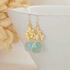 Sea Foam Green Pendant Gold Flower Hydrangea Bloom Earrings Wedding Earrings Wedding Jewelry Green Earrings Bridesmaid Gift by TheTangerinePoppy on Etsy
