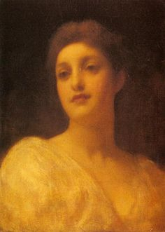 'The Head of a Girl', Oil by Lord Frederic Leighton (1830-1896, United Kingdom)