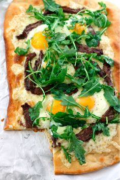 Steak, Egg & Arugula Flatbread   31 Of The Most Delicious Things You Can Do To Eggs