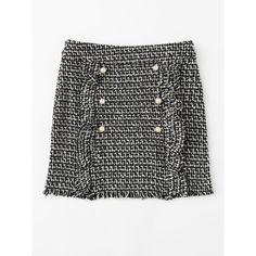 SheIn(sheinside) Pearl Button Detail Ruffle Trim Tweed Skirt ($15) ❤ liked on Polyvore featuring skirts, tweed skirt, black and white skirt, body con skirt, frill skirt and white and black plaid skirt
