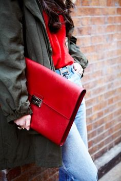 loving the red clutch