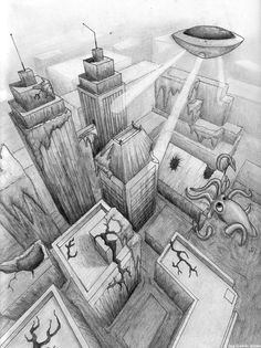 Ecosia - the search engine that plants trees Perspective 3 Points, 2 Point Perspective Drawing, Perspective Art, City Drawing, Composition Art, High School Art, Middle School, Sketch Notes, Found Art
