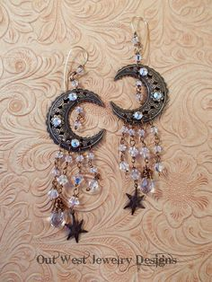 Gypsy Cowgirl Earrings  Brass Filigree Moon Stars with Clear