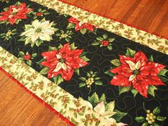 Christmas Table Runner Poinsettias and Holly Quilted by SusiQuilts