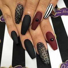 Matte Black & Burgundy Coffin #FallNails