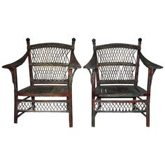 Pair of 19th Century Wicker Armchairs 1