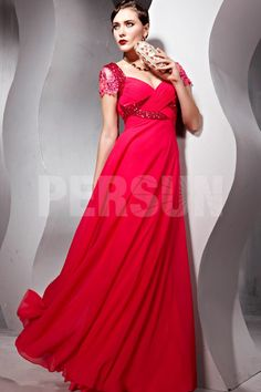 Chiffon Sweetheart Short Sleeves Beading Red Evening Dress on Sale at 4dress.co.uk