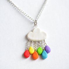 Cute Rainbow Rain Cloud Pendant Necklace  Kawaii by Linnypigs, £9.20