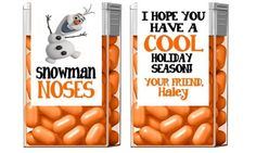Personalized Frozen Olaf Christmas Party Favors Tic Tac Wrappers / Labels Snowman Noses