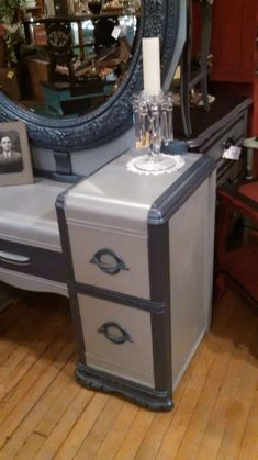 waterfall vanity brought back to life, painted furniture, repurposing upcycling, shabby chic Shabby Chic Bedrooms, Shabby Chic Homes, Shabby Chic Decor, Furniture Vanity, Furniture Makeover, Painted Furniture, Furniture Ideas, Refinished Furniture, Furniture Movers