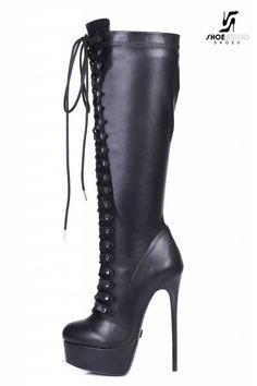 "Giaro Black lace-up ultra ""Galana MAHAUTE"" knee boots Black lace up Giaro high heeled knee boots – Shoebidoo Shoes Knee High Heels, Platform High Heels, Black High Heels, High Heel Boots, Heeled Boots, Sexy Boots, Sexy Heels, Stiletto Heels, Luis Pasteur"