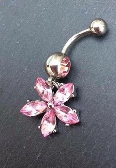 Pink Flower Belly Button Piercing #jewellery #pink #bellybuttonpiercing #flower #cute http://m.ebay.co.uk/itm/Free-Gift-Bag-Pink-Crystal-Belly-Button-Piercing-Flower-Jewellery-Cute-Dangle-/282027128928?nav=SELLING_ACTIVE