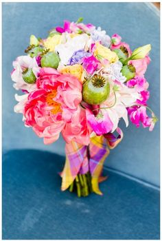 Colorful wedding bouquet with MIDORI's Dupioni Silk ribbon. Thanks to Mike Larson, Rani Hoover and Wedding Chicks for this gorgeous shoot!