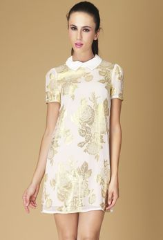 White Lapel Short Sleeve Embroidery Silk Dress
