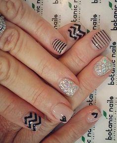 Black glitter nude   nails