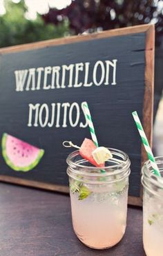 Watermelon mojitos: Mint leaves chopped 2 tblsp superfine sugar 6 ounces seedless watermelon, pureed 1/2 cup lime juice,fresh 3/4 cups light rum Crushed ice In shaker muddle mint, sugar, and 1/2 the lime juice. Add ice, rum and then watermelon. Shake. Strain over ice and serve.