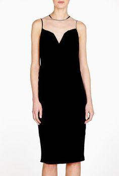 DKNY Sleeveless Drape Front Mesh Yoke Dress at ShopStyle