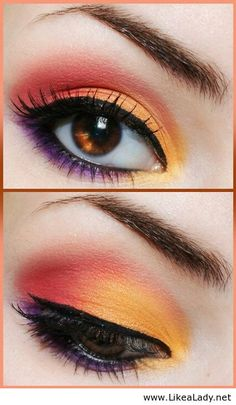 Orange eye makeup with black accents