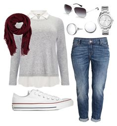 """""""Untitled #6"""" by m2415m on Polyvore featuring Converse, H&M, Studio 8, Forever 21, FOSSIL, Ray-Ban and kiz&Co."""