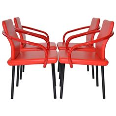 Set of Four Mandarin Chairs by Ettore Sottsass for Knoll | From a unique collection of antique and modern dining room chairs at http://www.1stdibs.com/furniture/seating/dining-room-chairs/