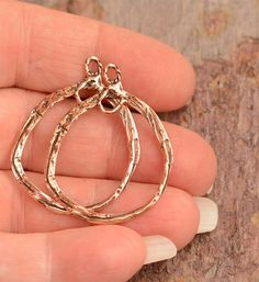 Love These Earring Hoops, Copper Bronze Rustic Artisan Hoops, Pair, E-672