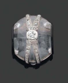 Suzanne Belperron rock crystal & diamond brooch. 20th c., France. #crystal #quartz #mineral #jewelry #Belperron