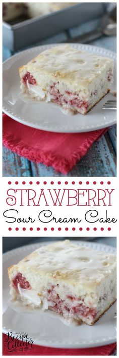 Strawberry Sour Cream Cake - A moist sour cream white cake filled with fresh strawberries and topped with a quick lemon glaze.