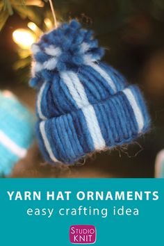 Winter Yarn Hat Christmas Ornaments are an easy craft project to make with your friends and family because there are NO knitting skills required. Get full written instructions and video tutorial by Studio Knit. for kids hats Yarn Hat Ornaments Christmas Craft Projects, Christmas Ornament Crafts, Easy Craft Projects, Diy Christmas Gifts, Holiday Ornaments, Holiday Crafts, Diy Christmas Tree Decorations, Christmas Crafts Sewing, Burlap Projects