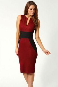 $31.21 Red Contrast Black Sleeveless #Dress