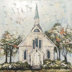 Old Country Churches, Old Churches, Farmhouse Paintings, Country Paintings, Church Pictures, Christian Art, Pictures To Paint, Art Techniques, Painting Inspiration