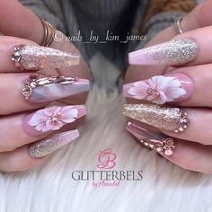 When your client lets you have free reign, flowers it is 🌸💐🌷 Using :- Glitterbels :- Glass Slippers Blossom Dusky pink Baby powder Stone… Glam Nails, Bling Nails, Cute Nails, Pretty Nails, 3d Nail Designs, Cute Acrylic Nail Designs, Best Acrylic Nails, Nagel Bling, Nails Design With Rhinestones