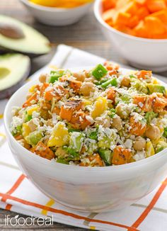 Mango Chickpeas and Feta Roasted Yams Salad - clean full meal salad. So easy and healthy OMG. Cookbook Recipes, Raw Food Recipes, Salad Recipes, Cooking Recipes, Healthy Recipes, Free Recipes, Vegetarian Recipes, Yam Or Sweet Potato, Salad With Sweet Potato