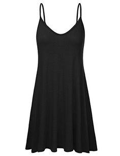 NINEXIS Women's Basic Spaghetti Strap Cami Tank Tunic Dress at Amazon Women's Clothing store: #camisdress