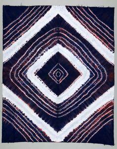 Africa | Wrapper ~ gara cloth ~ from Sierra Leone | ca. 1977 | Cotton; Damask, Tie-dyed.