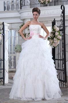 Organza Elegant Strapless Bridal Dresses wr0520 - http://www.weddingrobe.co.uk/organza-elegant-strapless-bridal-dresses-wr0520.html - NECKLINE: Strapless. FABRIC: Organza. SLEEVE: Sleeveless. COLOR: Ivory. SILHOUETTE: A-Line. - 128.59