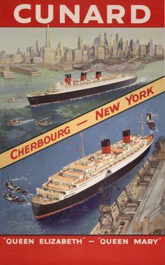 Cunard. Cherbourg – New York, Queen Elizabeth – Queen Mary