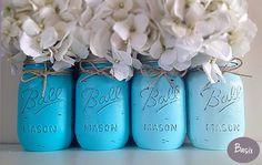 mason jar decoration | Blue Ombra Mason Jar Decorations